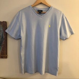 <POLO> Light Blue V-neck T-shirt